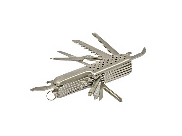 Swiss knife. Metallic swiss knife on white background. switchblade stock pictures, royalty-free photos & images