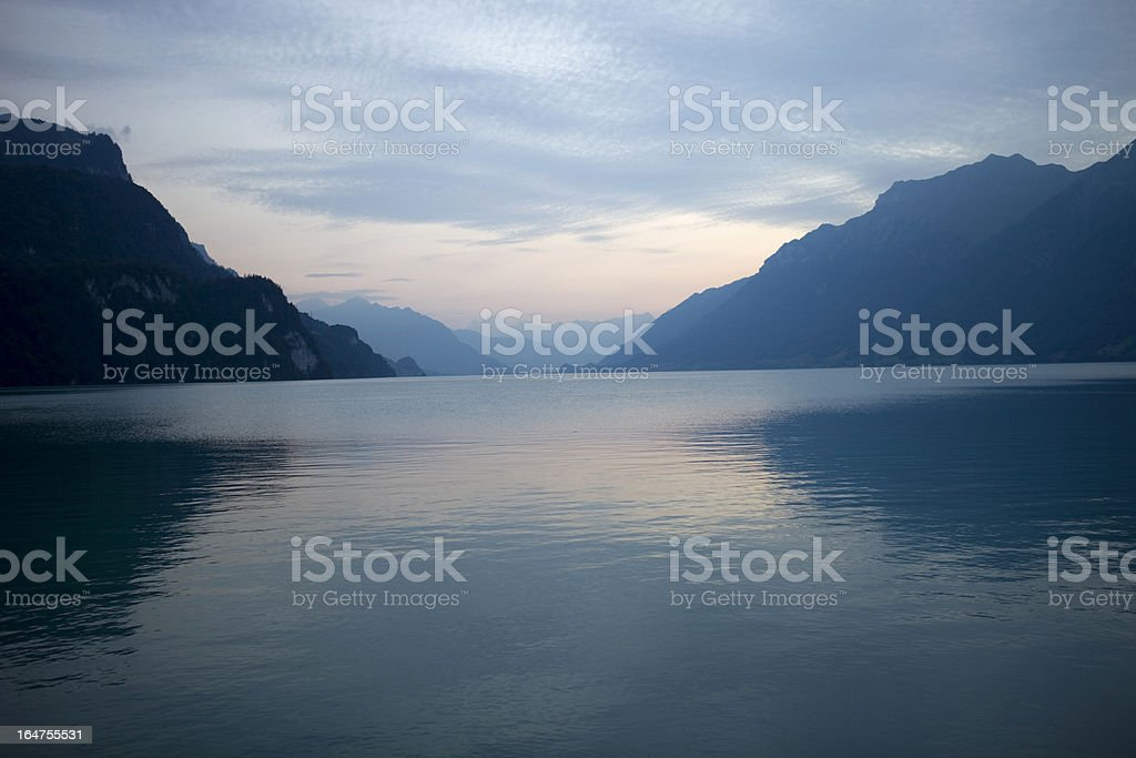 swiss lake sunset royalty-free stock photo