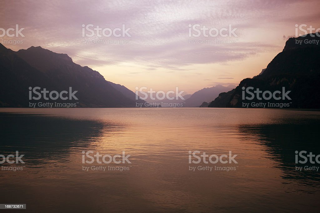 swiss lake sunset royalty-free stock photo