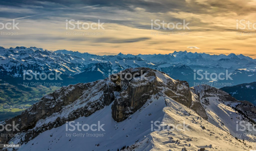 swiss landscape and houses lakes stock photo