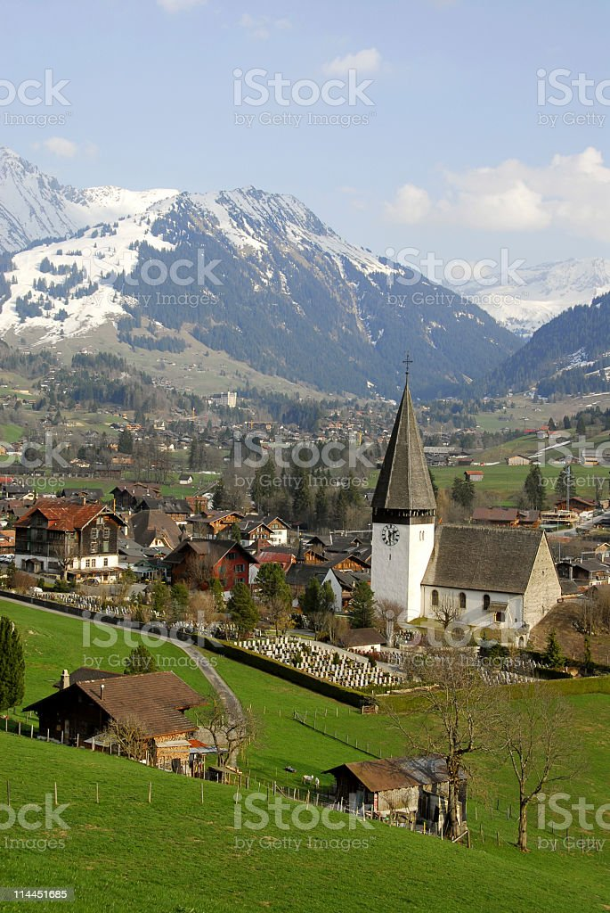 Swiss landscape in springtime stock photo
