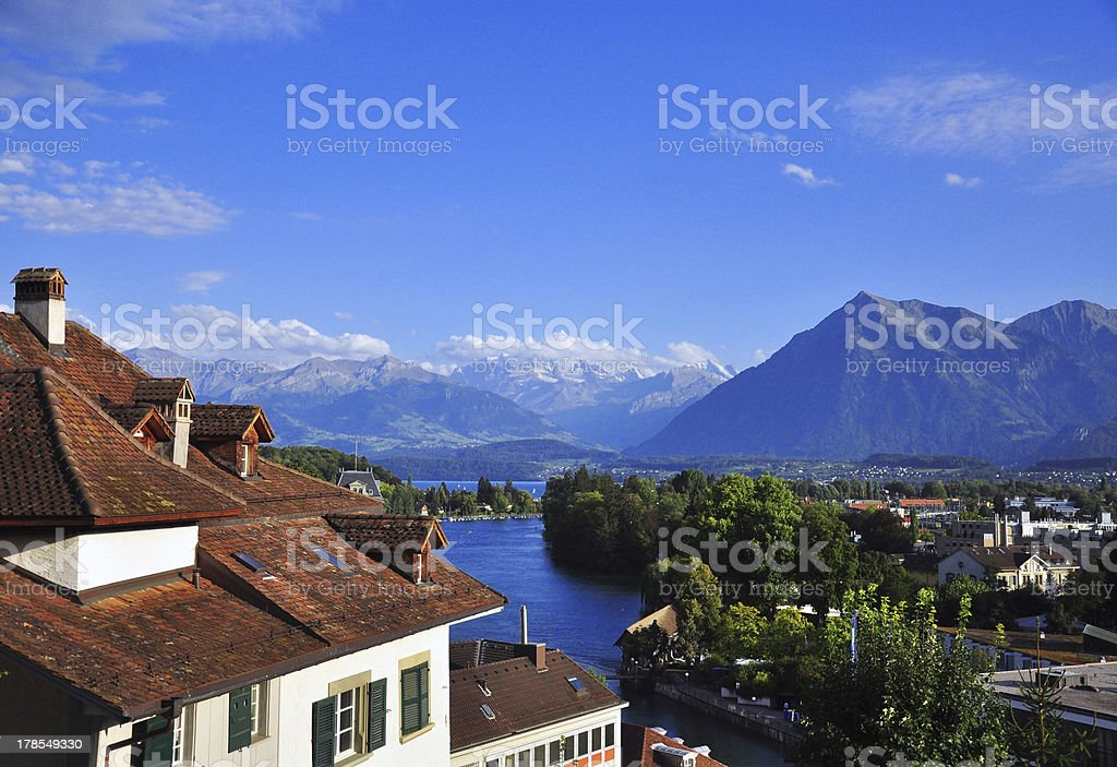 Swiss landscape near Thun Lake royalty-free stock photo