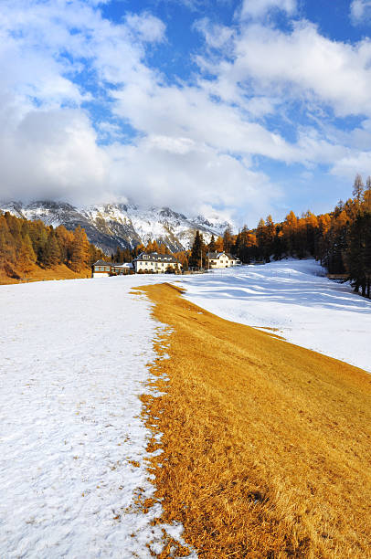 Swiss landscape, St. Moritz. stock photo