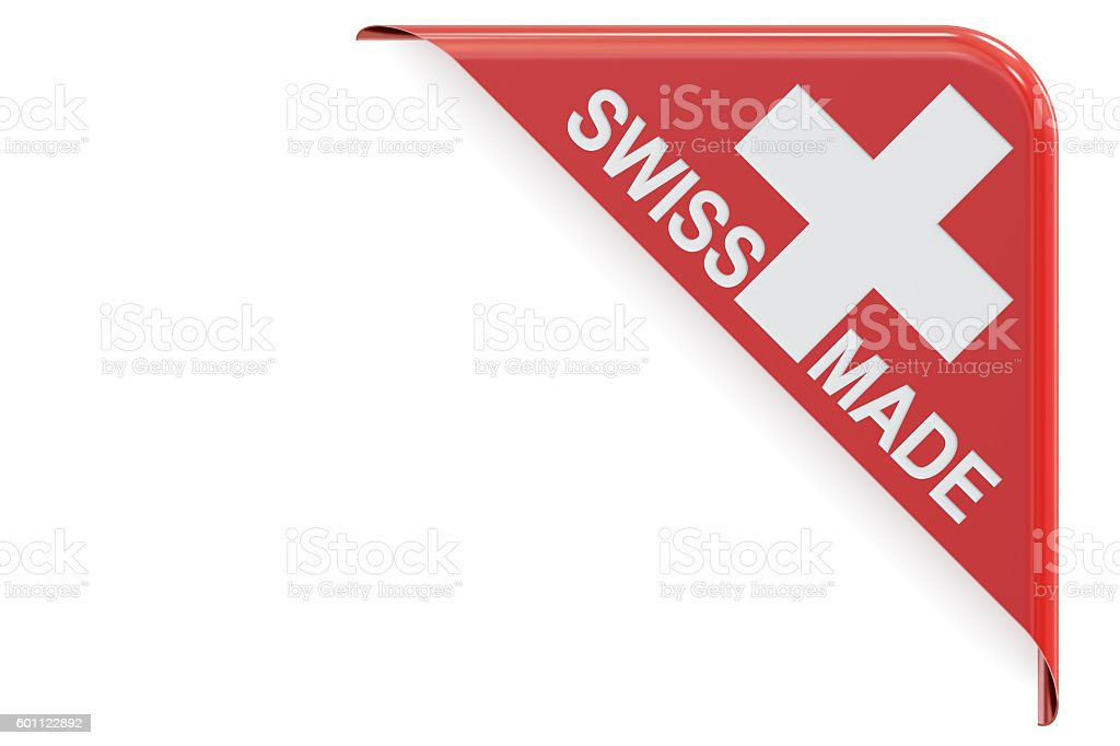 Swiss made concept, red corner. 3D rendering stock photo