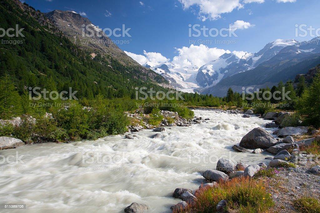 Swiss mountain landscape of the Morteratsch Glacier Valley stock photo