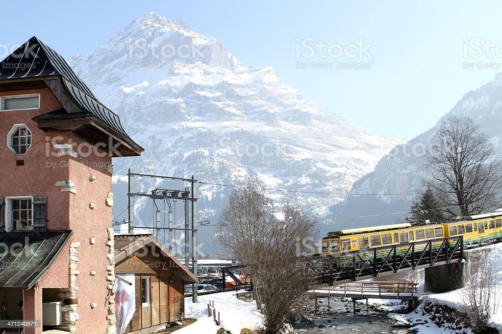 Swiss mountain railway from Grindlewald to Kleine Scheidegg stock photo