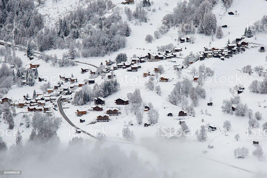 Swiss mountain village stock photo