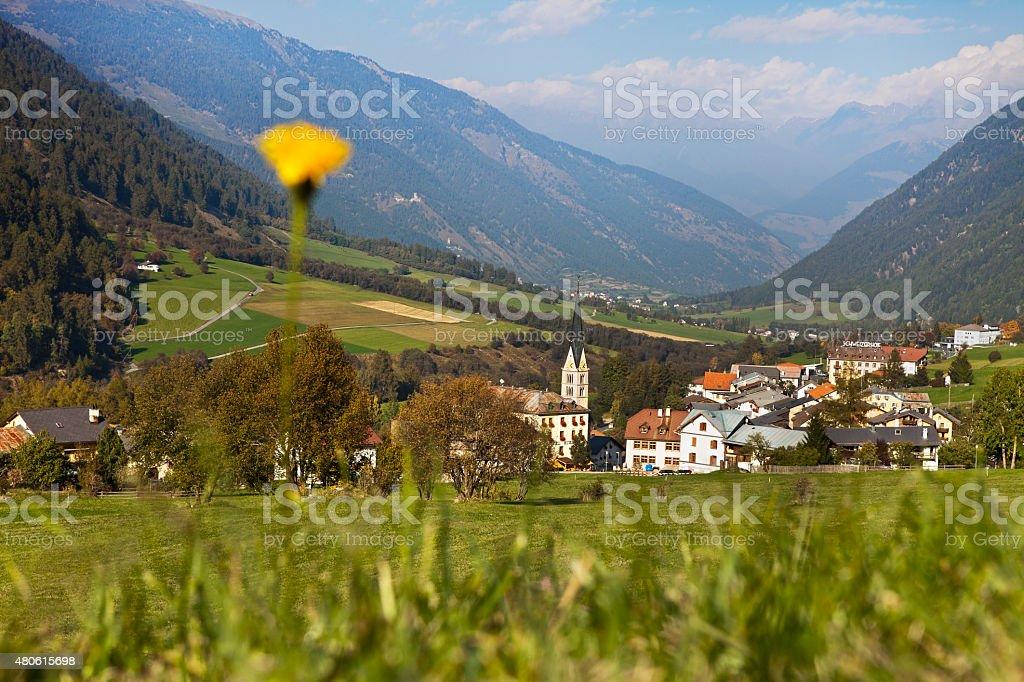 Swiss mountain village with flower, Val Müstair, Graubünden, Switzerland stock photo