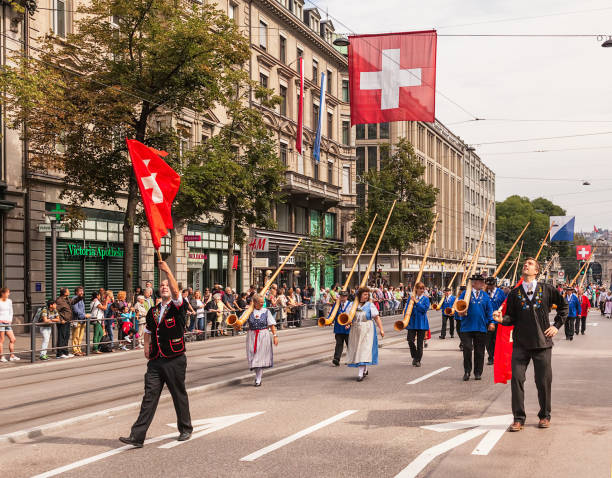 Swiss National Day parade in Zurich stock photo