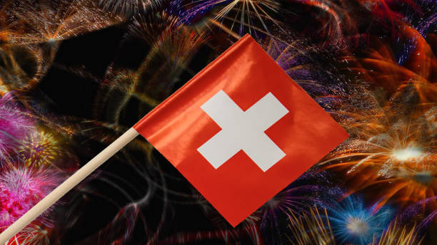 Swiss national holiday stock photo