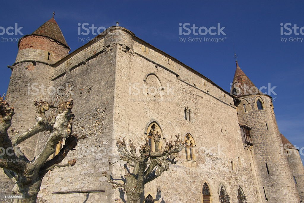 swiss old castle stock photo