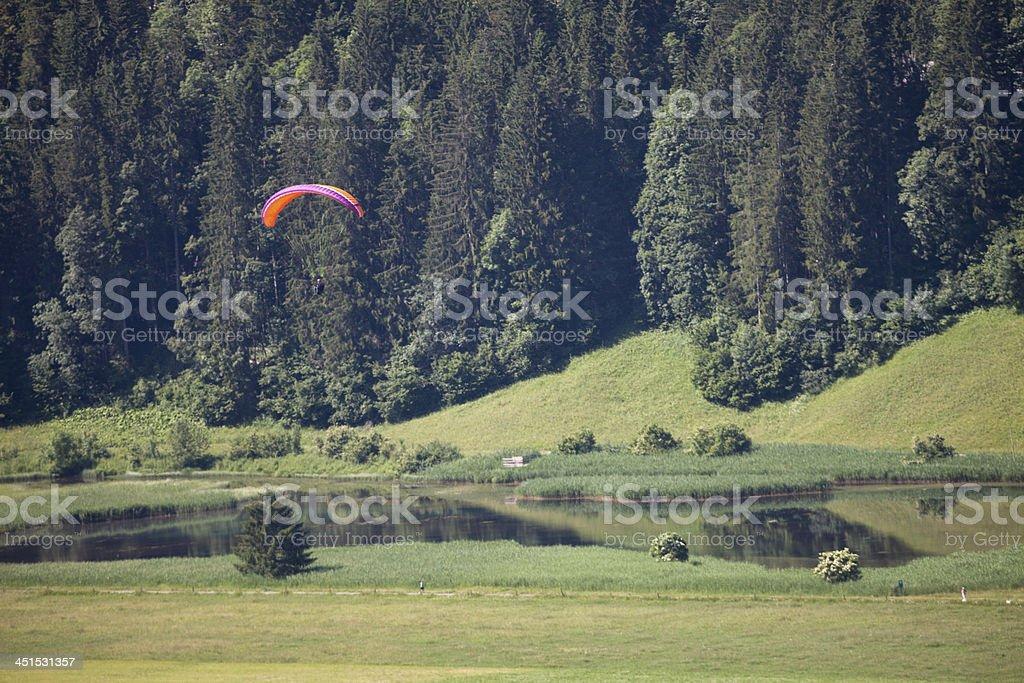 swiss paraglider above the Lenkerseeli, Bernese Oberland stock photo