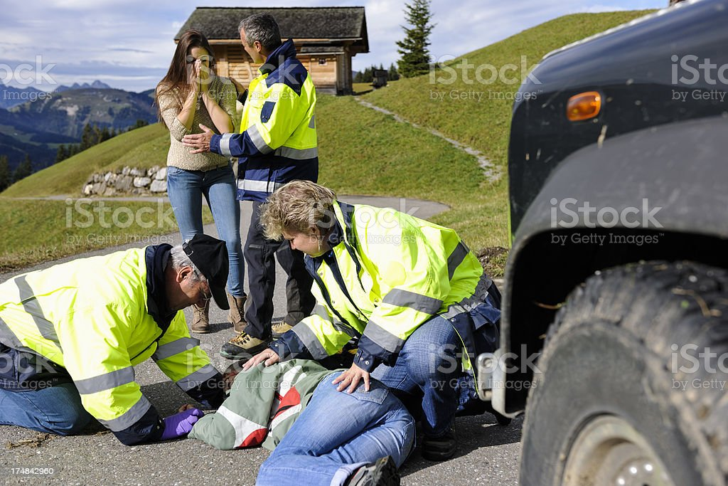 Swiss Paramedics at the Scene of an Accident stock photo