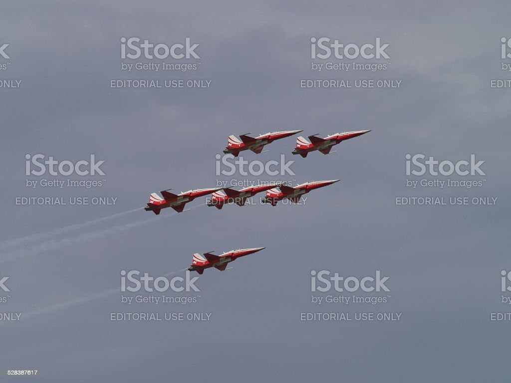 Patrouille suisse in action stock photo