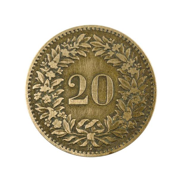 20 swiss rappen münze (1858) obvers auf weißem Hintergrund isoliert – Foto