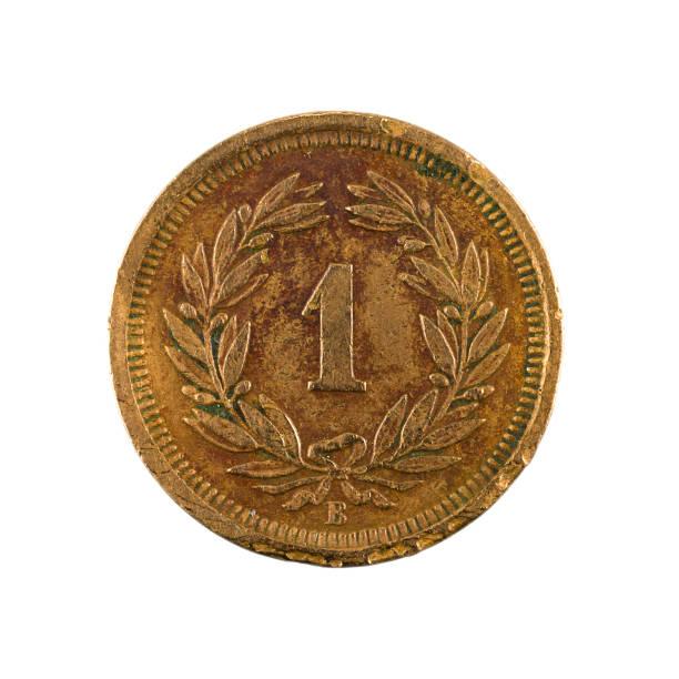 1 schweizer rappen münze (1883) obvers isoliert auf weißem Hintergrund – Foto