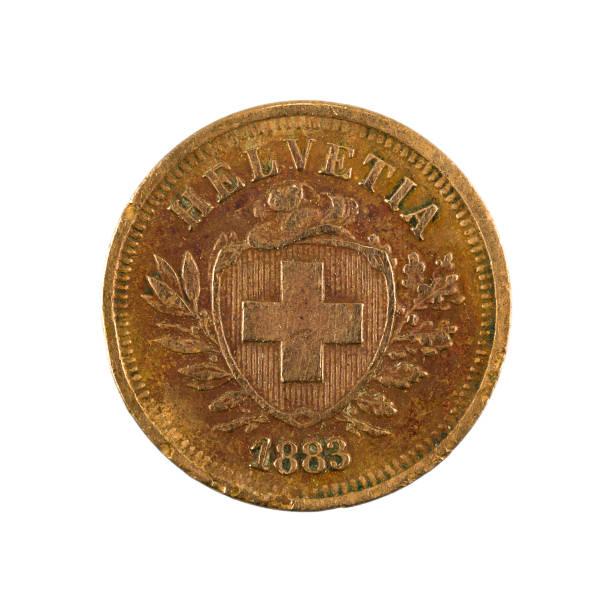1 Schweizer Rappenmünze (1883) rückwärts isoliert auf weißem Hintergrund – Foto