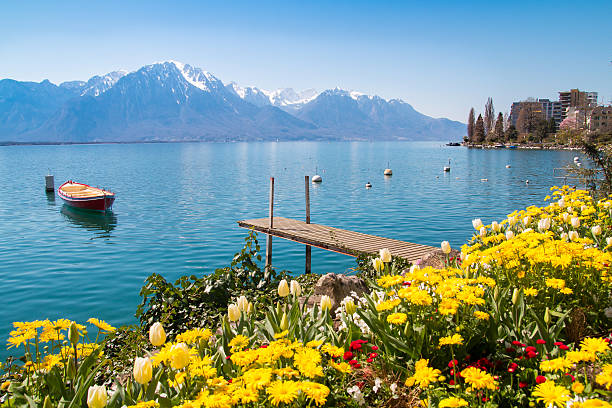 Swiss Riviera of Lake Geneva, Leman in Montreux, Switzerland stock photo