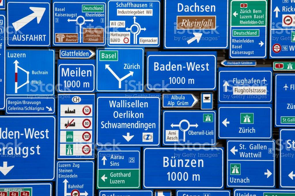 Swiss Road Signs - Lucerne - Switzerland. stock photo
