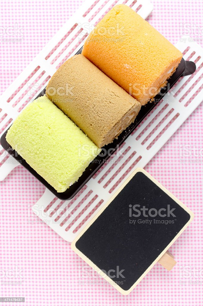 Swiss roll and price tag royalty-free stock photo