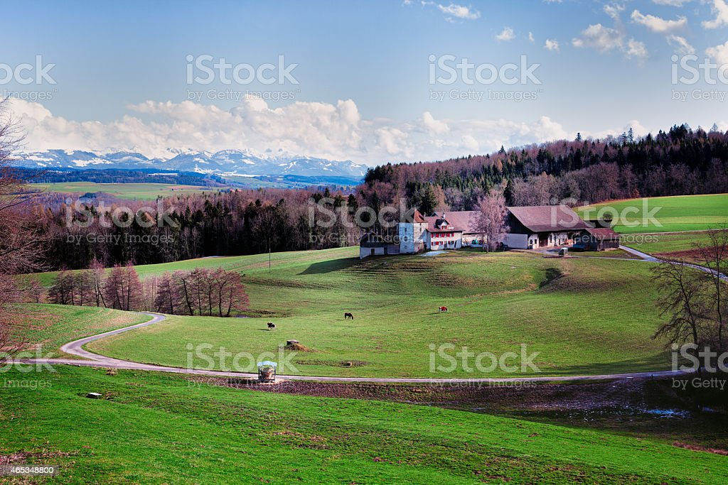 Swiss Romande Agricultural Estate, view of the Voralps stock photo