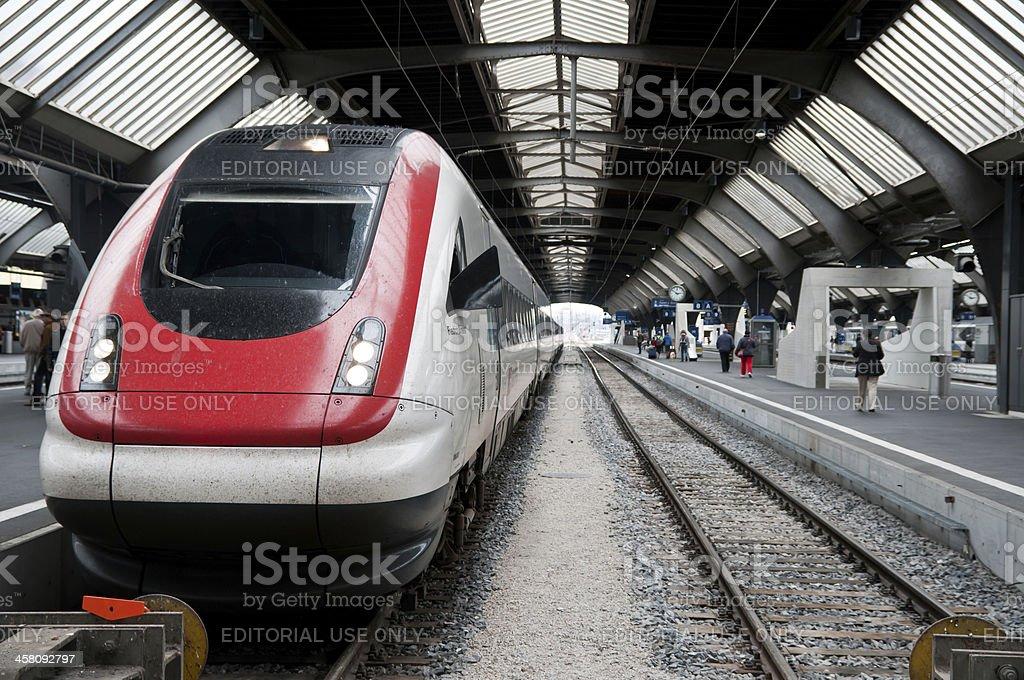 Swiss SBB train waiting for departure in main station Zürich