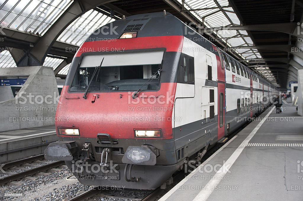 Swiss SBB train waiting for departure in main station Zürich royalty-free stock photo