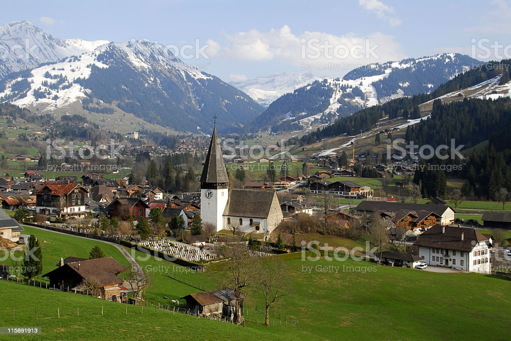 Swiss scenery in spring stock photo
