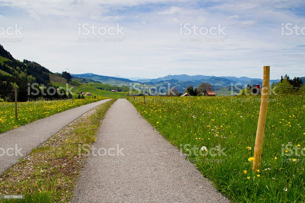 Swiss style country road stock photo