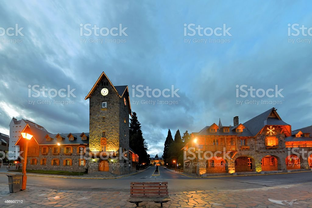 Swiss style main Square in Bariloche, Patagonia, Argentina stock photo