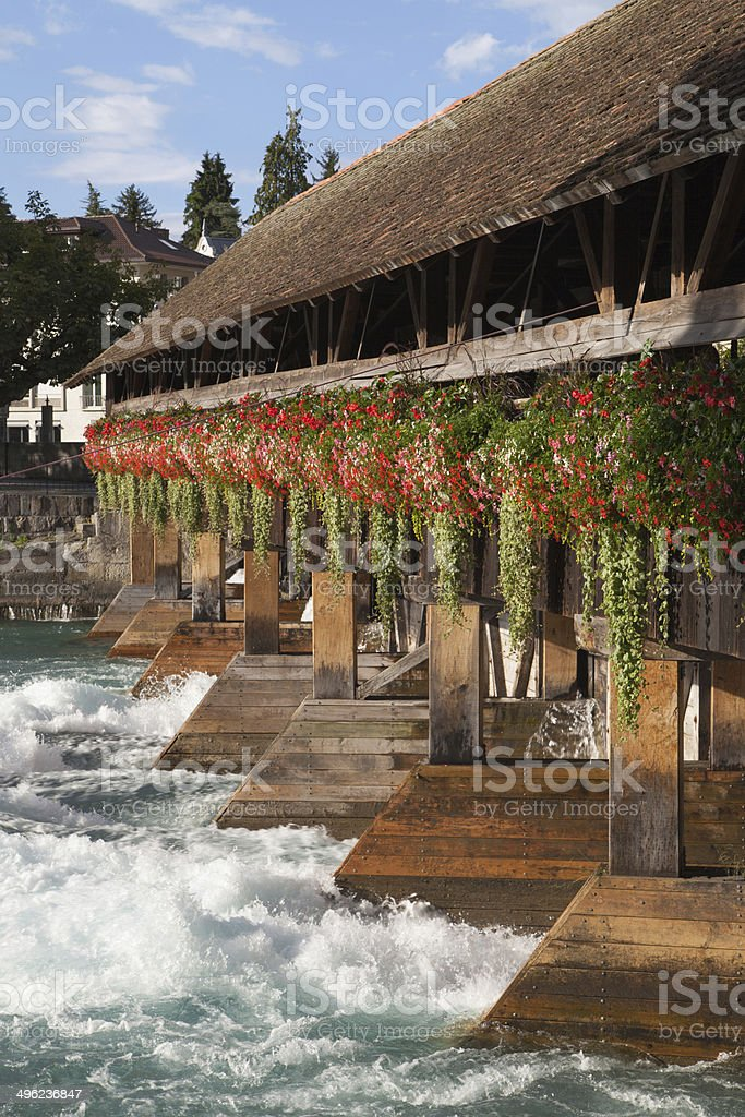 Swiss traditional wooden bridge royalty-free stock photo