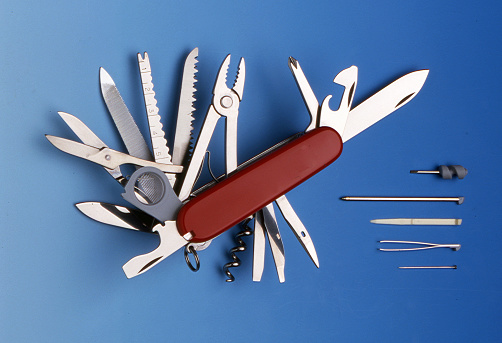 Swiss universal knife with its tools