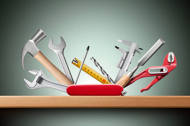 swiss universal knife with tools on shelf - swiss army knife imagens e fotografias de stock