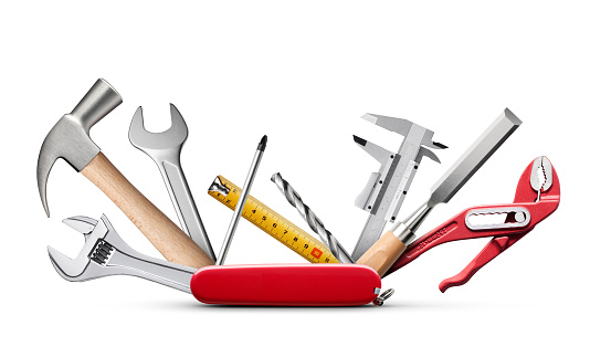 Swiss universal knife with tools on white background