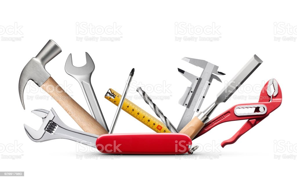 Swiss universal knife with tools on white background stock photo