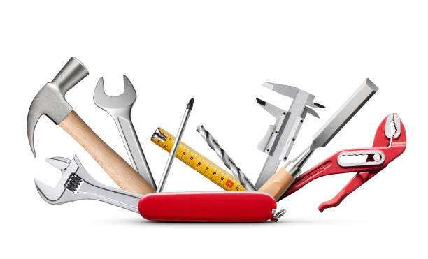 swiss universal knife with tools on white background - swiss army knife imagens e fotografias de stock