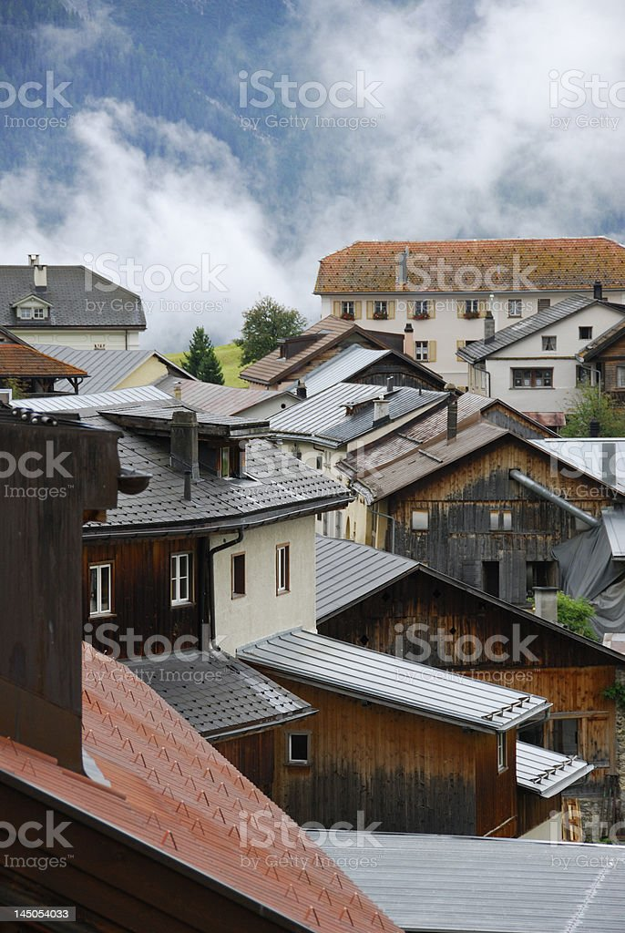 Swiss village in Engadin royalty-free stock photo