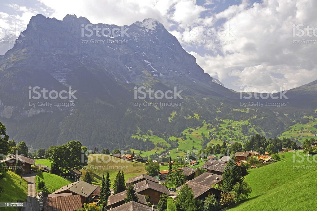 Swiss village in the summer royalty-free stock photo