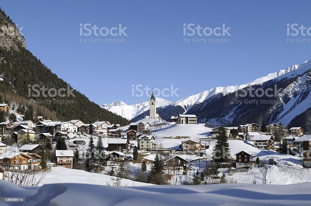 Swiss Village in Winter near Davos stock photo