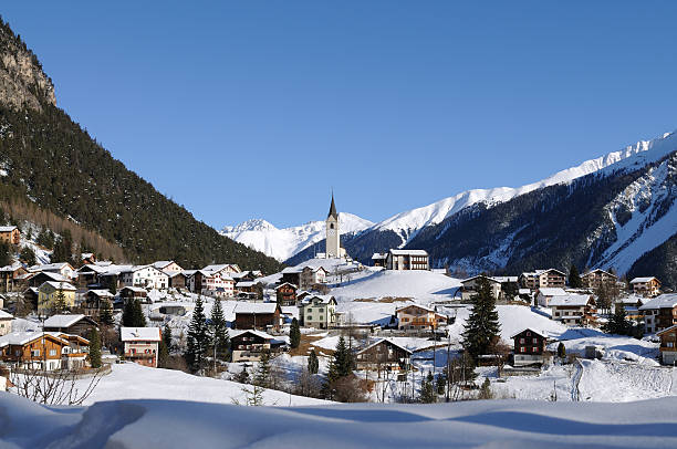 Swiss Village in Winter near Davos  switzerland stock pictures, royalty-free photos & images