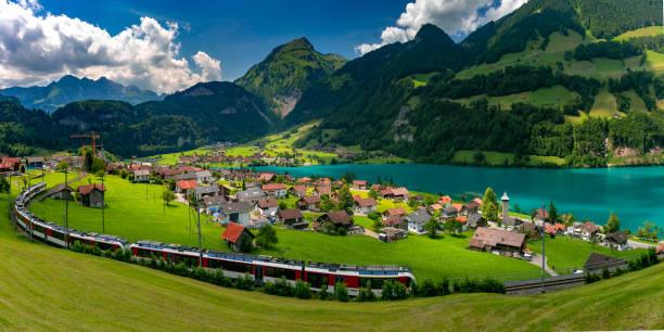 Swiss village Lungern, Switzerland stock photo