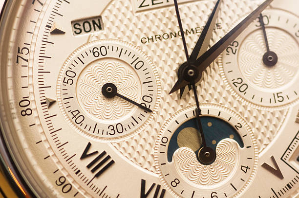 Swiss watch close up with valves stock photo