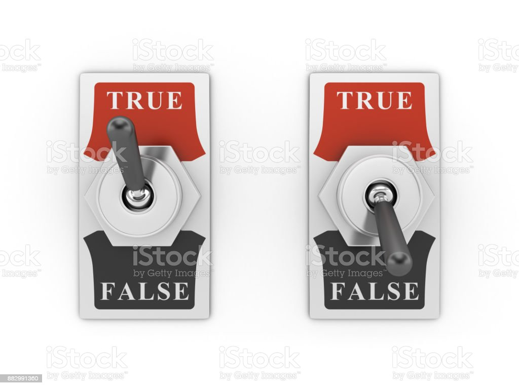 TRUE FALSE Switch - 3D Rendering stock photo