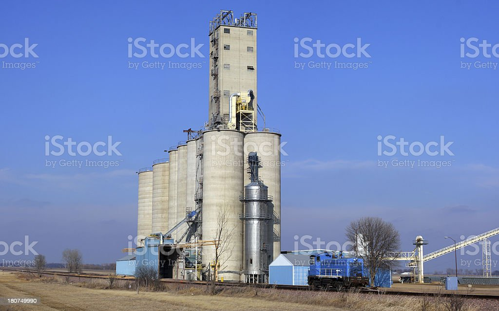 Switch engine and grain elevator royalty-free stock photo
