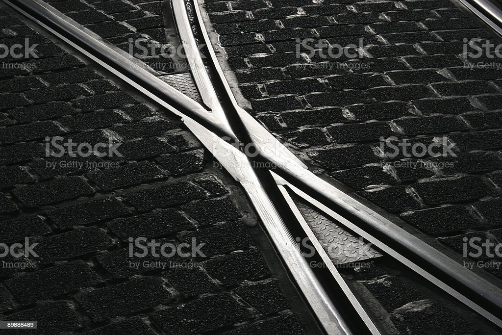Switch of a tramway / streetcar rail stock photo