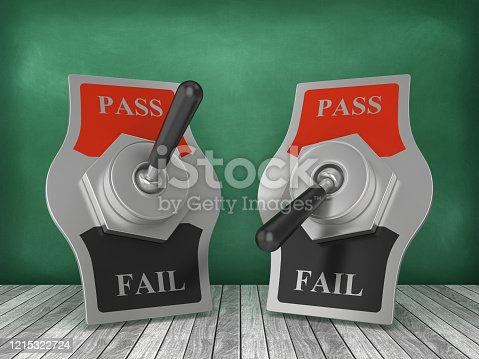 PASS FAIL Switch on Chalkboard Background - 3D Rendering