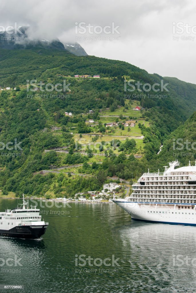 Switchback road at Geiranger fjord stock photo