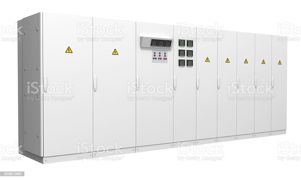 Switchboard isolated on white background stock photo