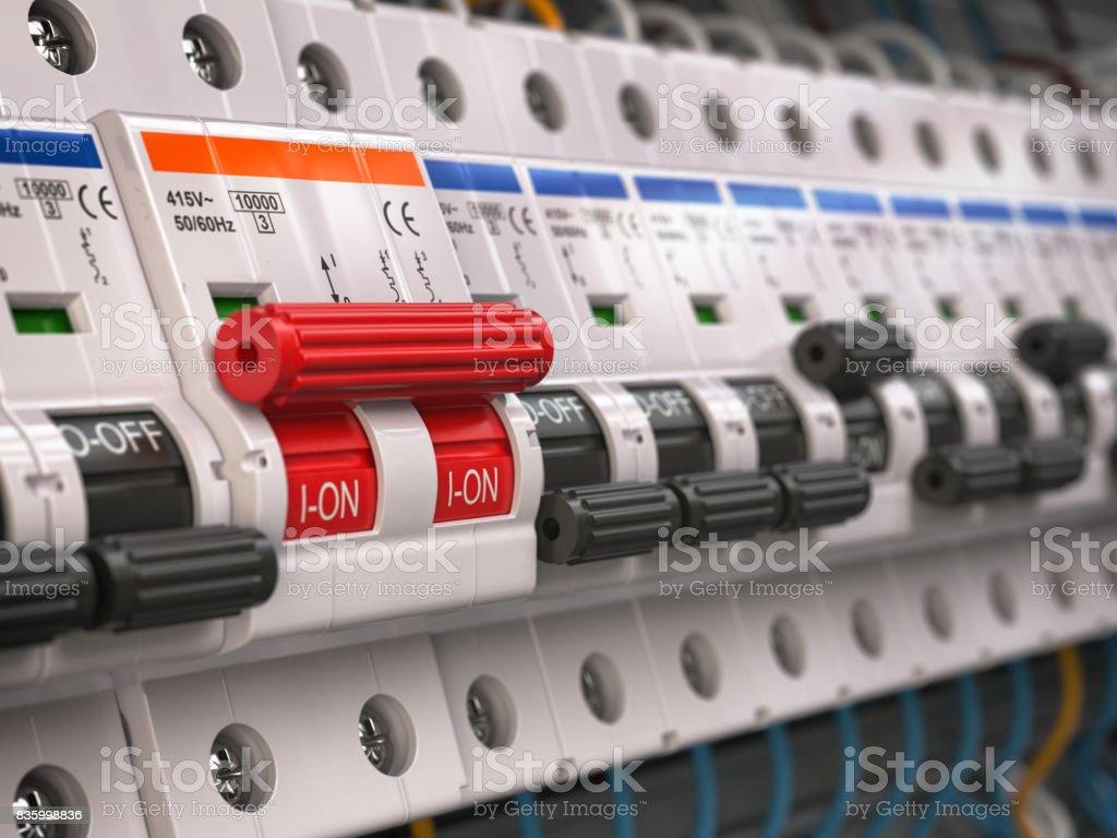 Schalter Im Sicherungskasten Viele Schwarze Schaltung Brakers ...