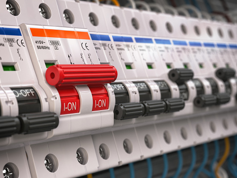 Switches in fusebox. Many black circuit brakers in a row in position OFF and one red switch in position ON. 3d illustration